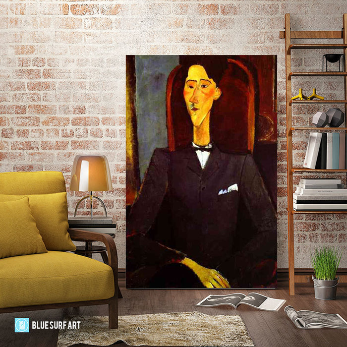"""Portrait of Jean Cocteau"" by Amedeo Modigliani reproduction, in oil painting on canvas - living room"