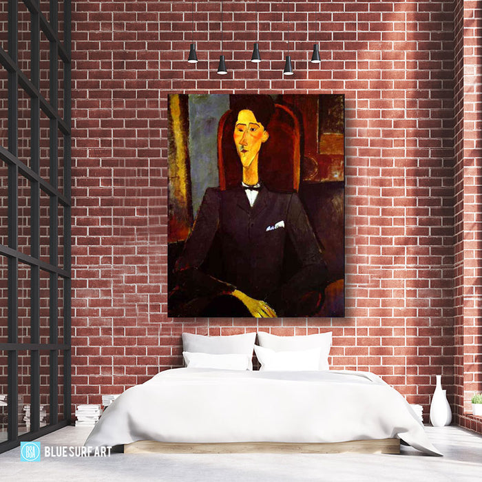 """Portrait of Jean Cocteau"" by Amedeo Modigliani reproduction, in oil painting on canvas - loft bedroom high ceiling"