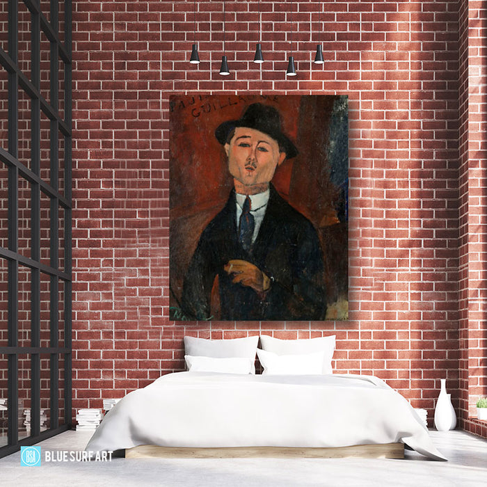 Portrait of Paul Guillaume painting by Amedeo Modigliani reproduction, in oil painting on canvas - bedroom showcase
