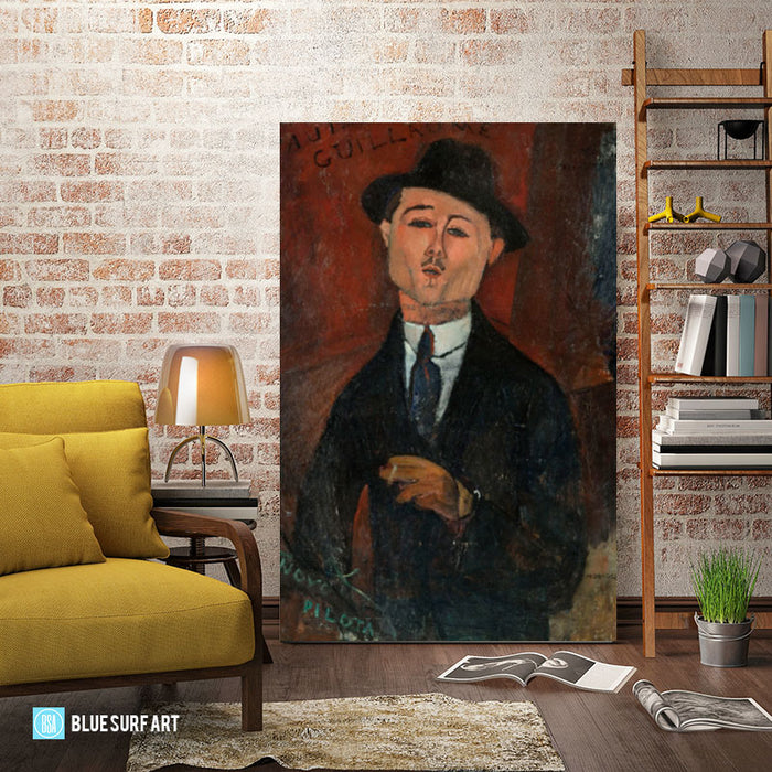 Portrait of Paul Guillaume painting by Amedeo Modigliani reproduction, in oil painting on canvas - living room