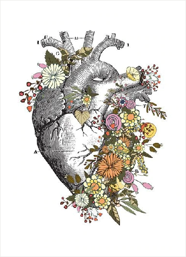 Vintage Anatomy Floral Heart & Brain Art Print, Print on canvas
