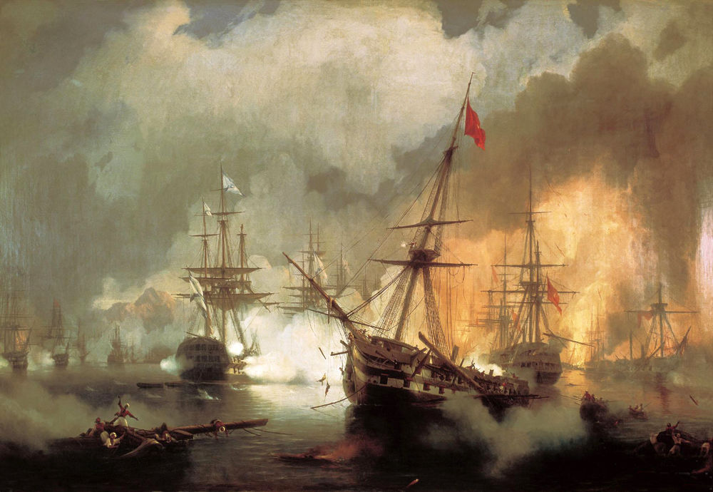 Battle of Navarino by Ivan Aivazovsky Reproduction Painting by Blue Surf Art