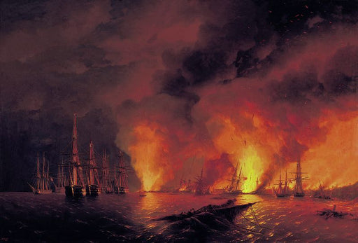 Battle of Sinope by Ivan Aivazovsky Reproduction Painting by Blue Surf Art