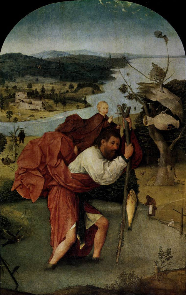 Saint Christopher Carrying the Christ Child by Hieronymus Bosch I Blue Surf Art