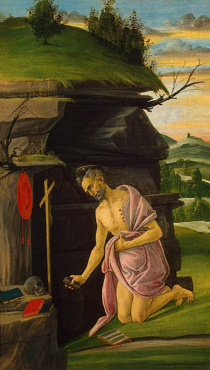 St Jerome by Sandro Botticelli I Blue Surf Art