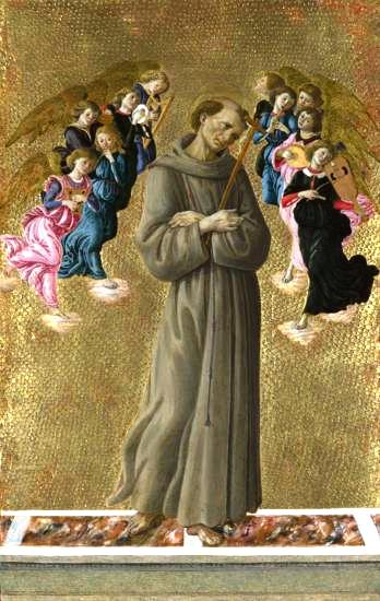 Saint Francis of Assisi with Angels by Sandro Botticelli I Blue Surf Art