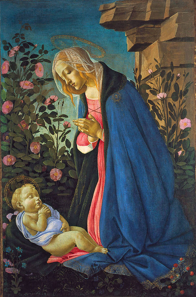 The Virgin Adoring the Sleeping Christ Child by Sandro Botticelli I Blue Surf Art