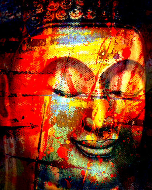Buddha Smile Portrait in Red Abstract Style