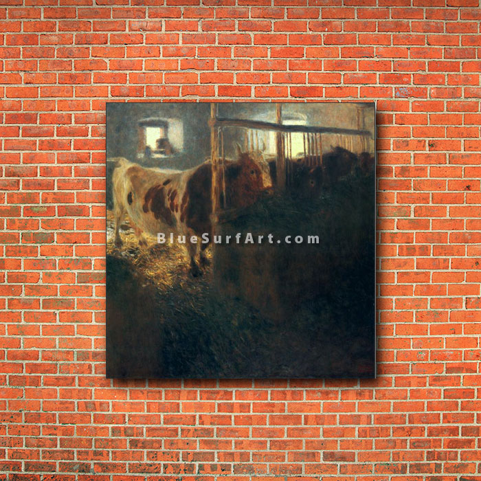 Cows in a Stall - red bricks wall