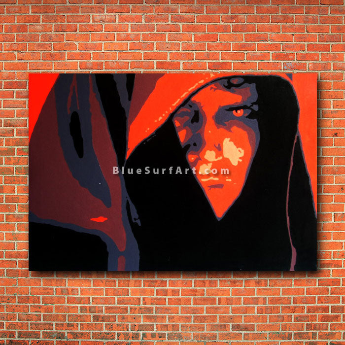 Dark Side - Anakin Skywalker Oil Painting on Canvas by Blue Surf Art - red brick wall