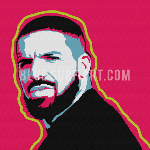 Drake Canvas Art Painting, Rapper Wall Art Oil Painting