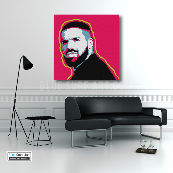 Drake Canvas Art Painting, Rapper Wall Art Oil Painting - Living room showcase
