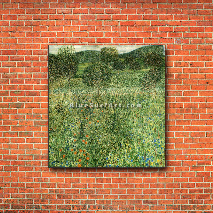 Flowering Field - red bricks wall