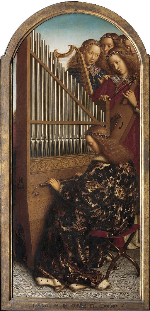Music-making Angels by Jan Van Eyck Reproduction Painting by Blue Surf Art