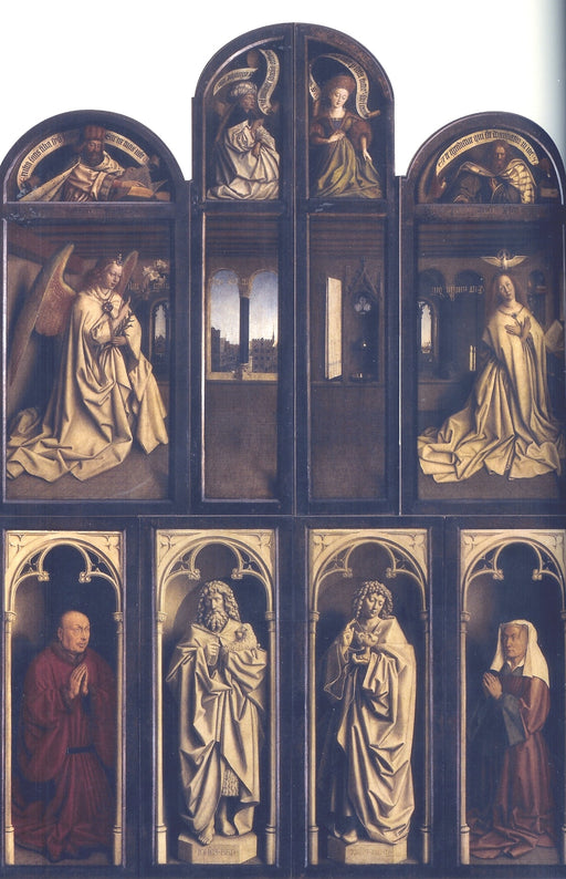 Back panel Ghent Altarpiece with interior view by Jan Van Eyck Reproduction Painting by Blue Surf Art