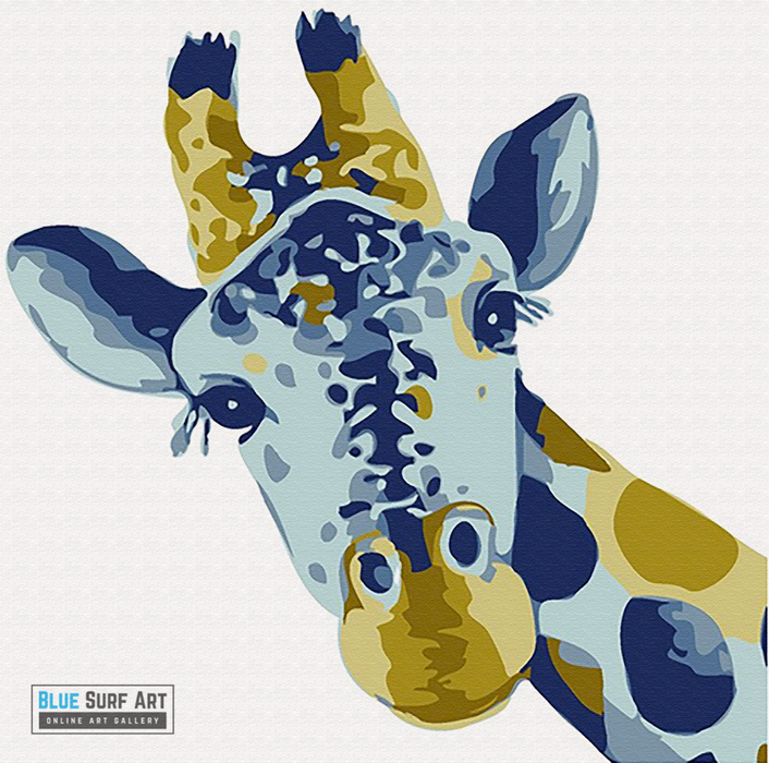 Baby Giraffe Canvas Art Painting, Animal Pop Art, Room Decor, Wall Art - showcase