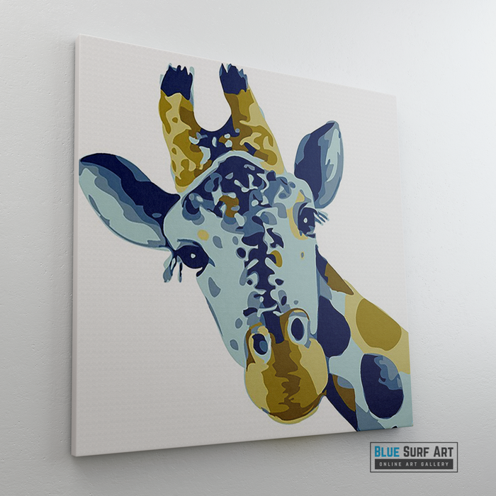 Baby Giraffe Canvas Art Painting, Animal Pop Art, Room Decor, Wall Art - sideway