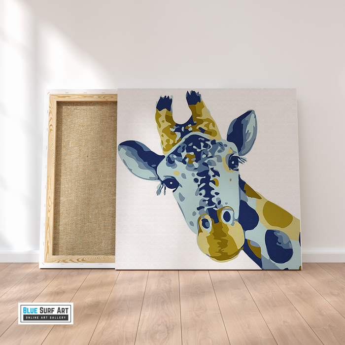 Baby Giraffe Canvas Art Painting, Animal Pop Art, Room Decor, Wall Art - on frame