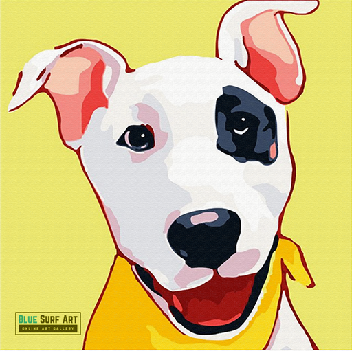 Happy Puppy Canvas Art Painting, Animal Pop Art, Room Decor, Wall Art - showcase