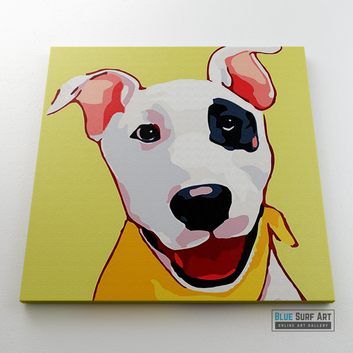 Happy Puppy Canvas Art Painting, Animal Pop Art, Room Decor, Wall Art - on wall