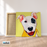 Happy Puppy Canvas Art Painting, Animal Pop Art, Room Decor, Wall Art - on frame