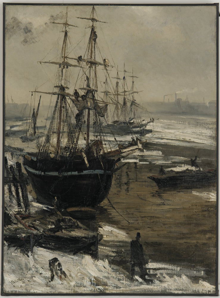 The Thames in Ice by James Abbott McNeill Whistler Reproduction Painting by Blue Surf Art