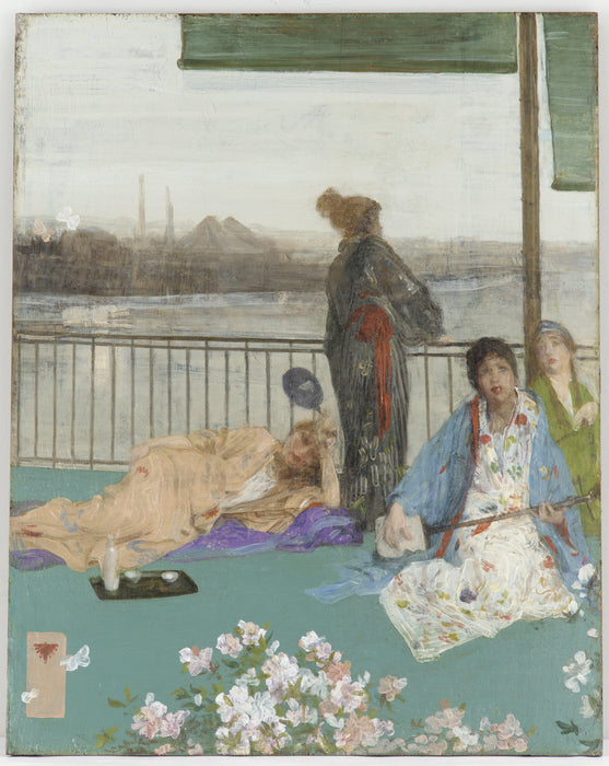 Variations in Flesh Colour and Green - The Balcony by James Abbott McNeill Whistler Reproduction Painting by Blue Surf Art