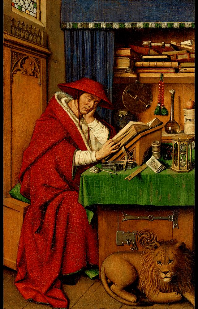 Saint Jerome in His Study by Blue Surf Art by Jan Van Eyck Reproduction Painting by Blue Surf Art