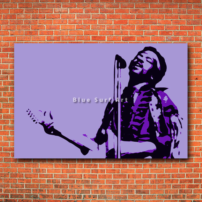 Jimmy Hendrix Guitar - red brick wall