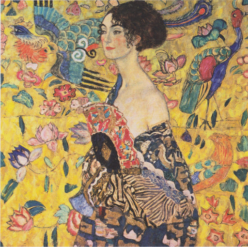 Lady with Fan by Gustav Klimt Oil Painting on Canvas. Wall Art Home Decor