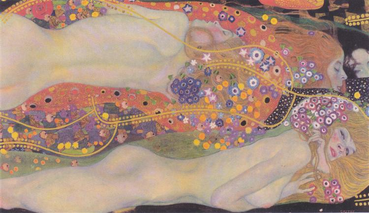 Water Serpents II by Gustav Klimt-100% Hand Painted Oil Painting Reproduction