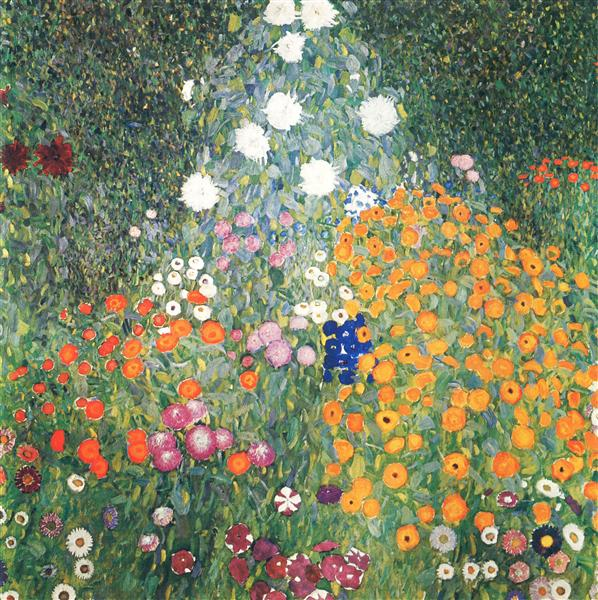 Flower Garden by Gustav Klimt-100% Hand Painted Oil Painting on Canvas
