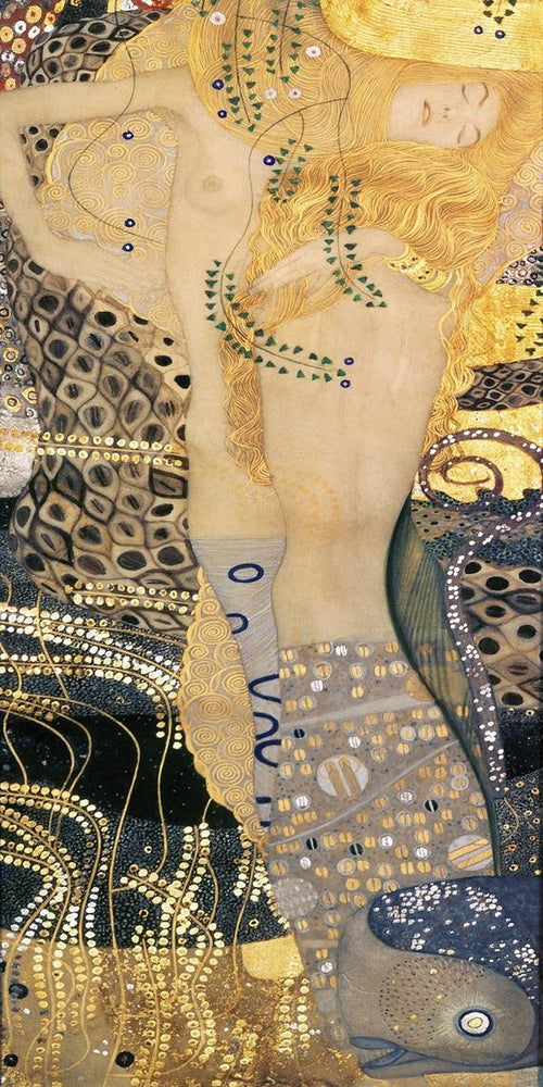 Water Serpents I by Gustav Klimt-100% Hand Painted Oil Painting on Canvas