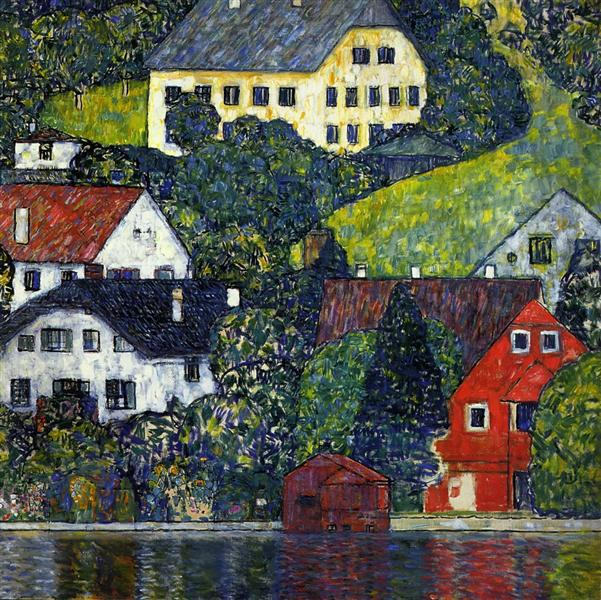 Houses at Unterach on the Attersee by Gustav Klimt Oil Painting on Canvas