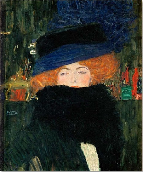 Lady with Hat and Feather Boa by Gustav Klimt Oil Painting on Canvas