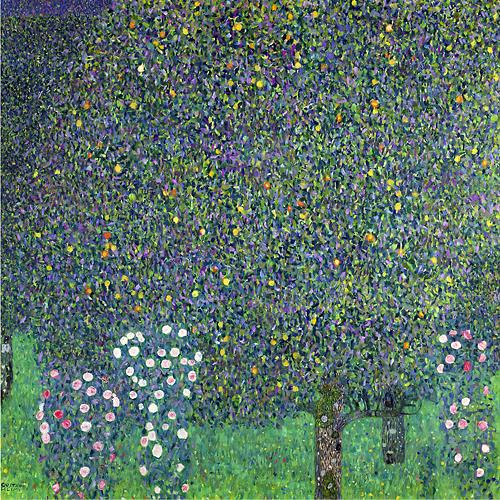 Rose Bushes Under Trees by Gustav Klimt Oil Painting on Canvas