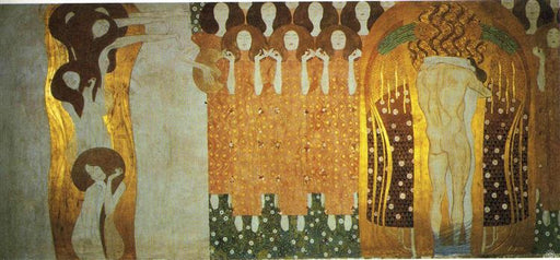 The Beethoven Frieze: The Longing for Happiness Finds Repose in Poetry. Right wall by Gustav Klimt Oil Painting on Canvas