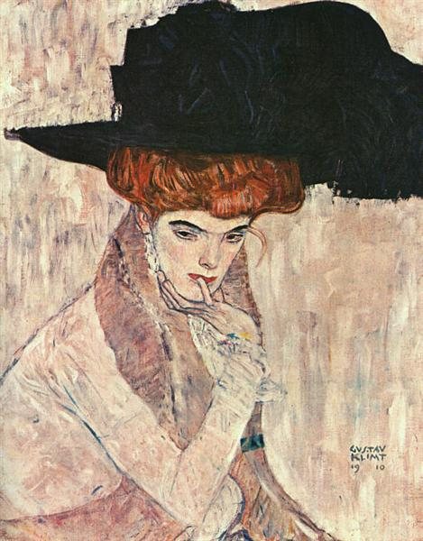 The Black Feather Hat by Gustav Klimt, oil painting on canvas by blue surf art