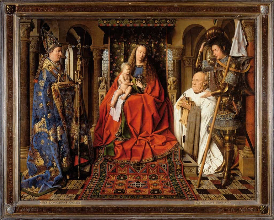 Virgin and Child with Canon van der Paele by Jan Van Eyck Reproduction Painting by Blue Surf Art