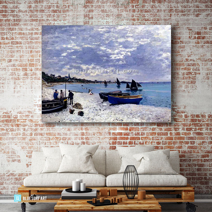 Beach at Sainte Adresse oil painting on canvas - living room