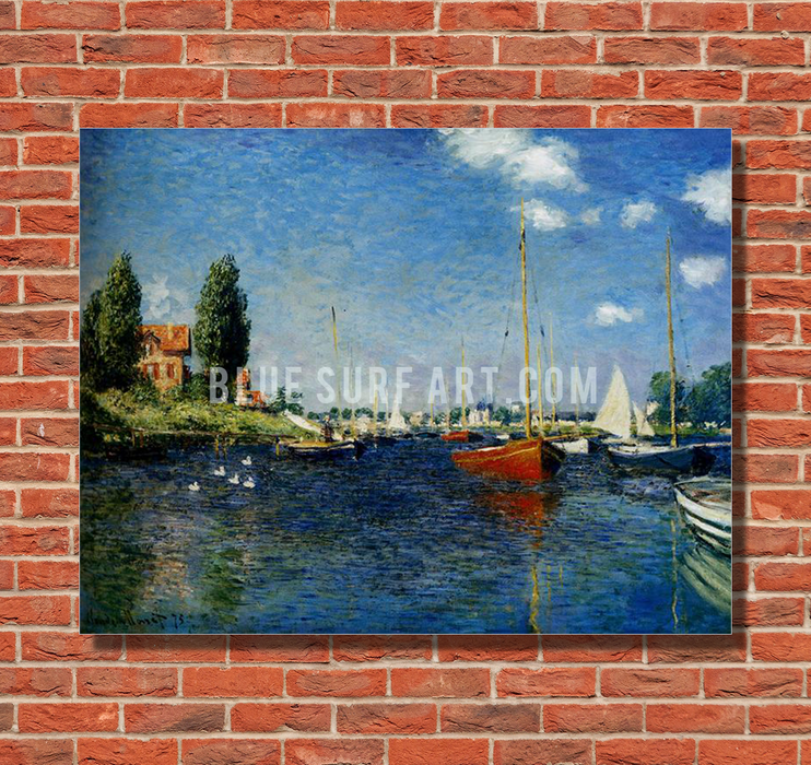 Argenteuil, 1875. Reproduction Oil Painting on Canvas I Blue Surf Art - red bricks