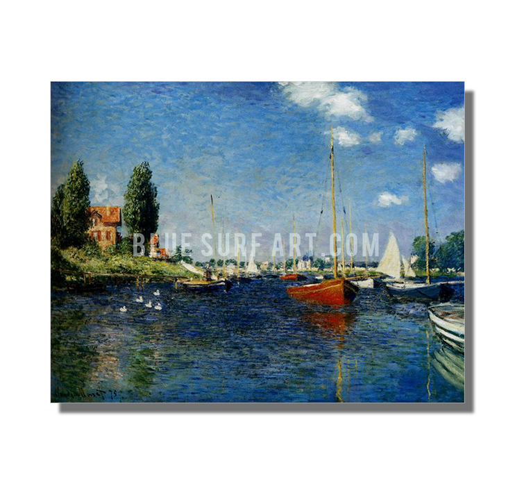Argenteuil, 1875. Reproduction Oil Painting on Canvas I Blue Surf Art - white background