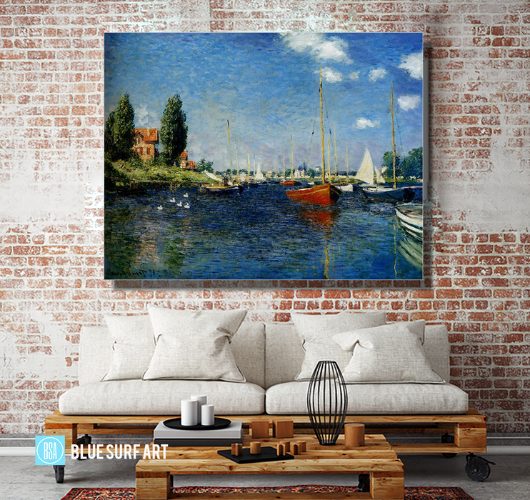 Argenteuil, 1875. Reproduction Oil Painting on Canvas I Blue Surf Art - living room