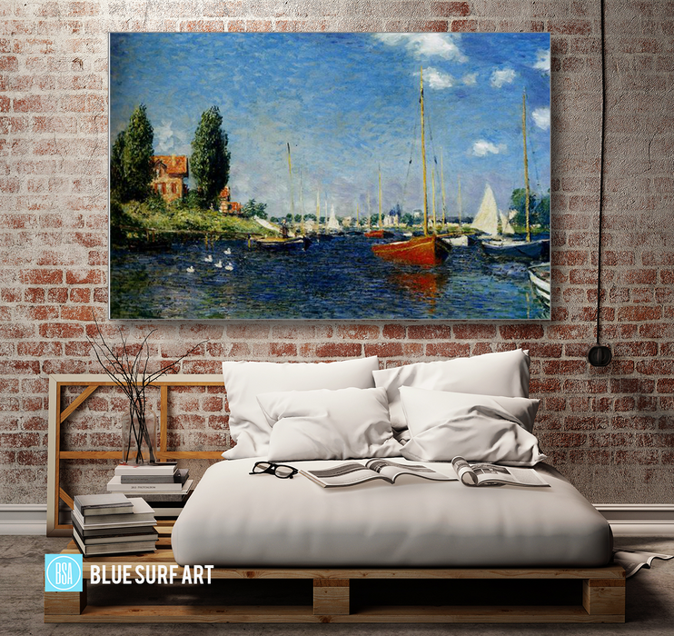 Argenteuil, 1875. Reproduction Oil Painting on Canvas I Blue Surf Art - bedroom