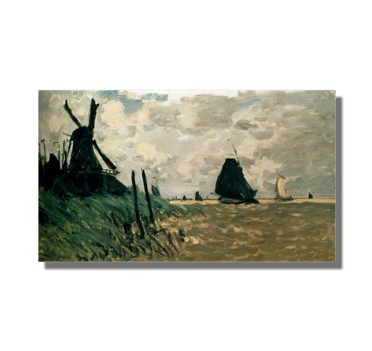 A Windmill near Zaandam, 1871. Reproduction Oil Painting on Canvas I Blue Surf Art - White Background