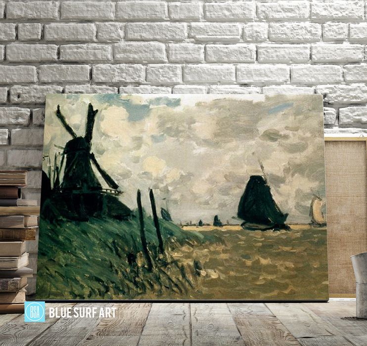 A Windmill near Zaandam, 1871. Reproduction Oil Painting on Canvas I Blue Surf Art - Showcase