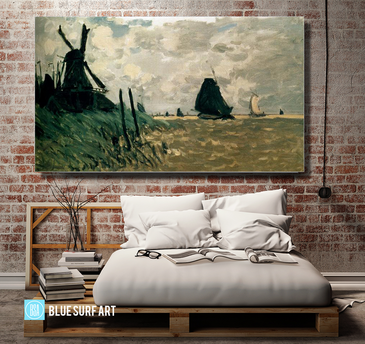 A Windmill near Zaandam, 1871. Reproduction Oil Painting on Canvas I Blue Surf Art - Bedroom