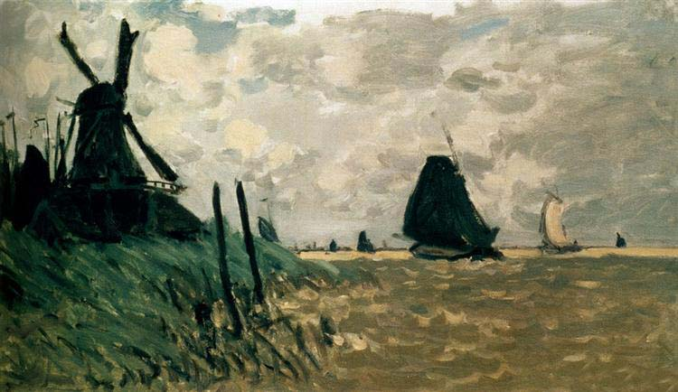 A Windmill near Zaandam, 1871. Reproduction Oil Painting on Canvas I Blue Surf Art