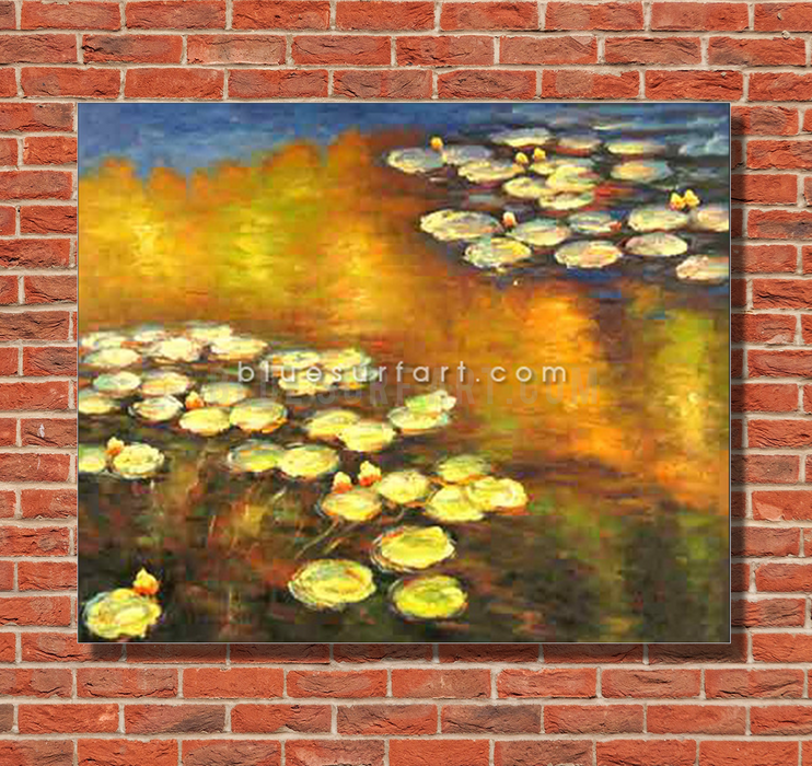 Water Lilies Reproduction  I  Blue Surf Art 1