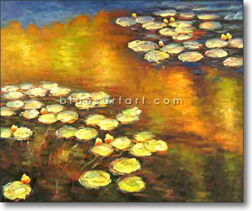 Water Lilies Reproduction  I  Blue Surf Art
